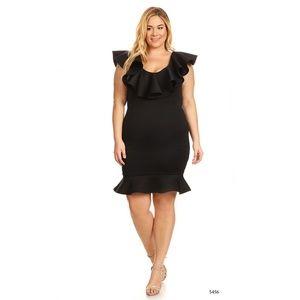 Dresses & Skirts - PLUS Size Black Bodycon Midi Ruffle Party Dress